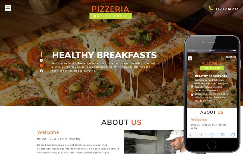 Pizzeria a Food Category Bootstrap Responsive Web Template Mobile website template Free