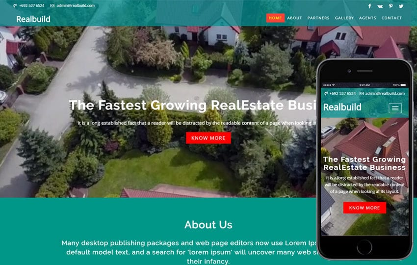 Realbuild a Real Estate Category Bootstrap Responsive Web Template Mobile website template Free