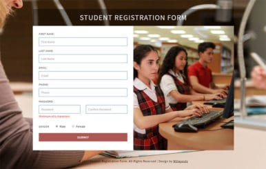 Student Registration Form – Bootstrap Responsive Template