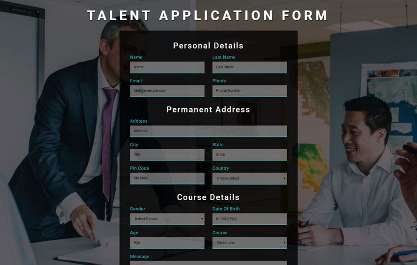 Talent Application Form a Flat Responsive Widget Template