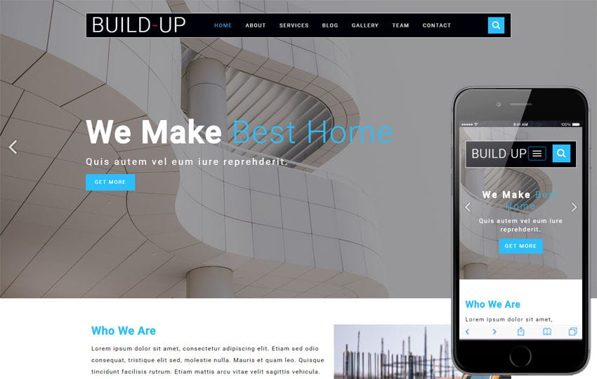 Build Up Builders Category Flat Bootstrap Responsive Web Template Mobile website template Free