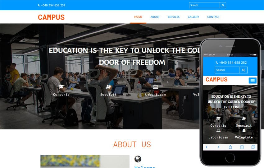 Campus Education Category Bootstrap Responsive Web Template Mobile website template Free