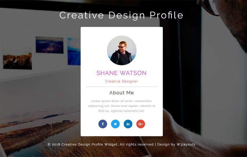 Creative Design Profile Flat Responsive Widget Template