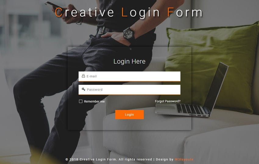 Creative Login Form Responsive Widget Template