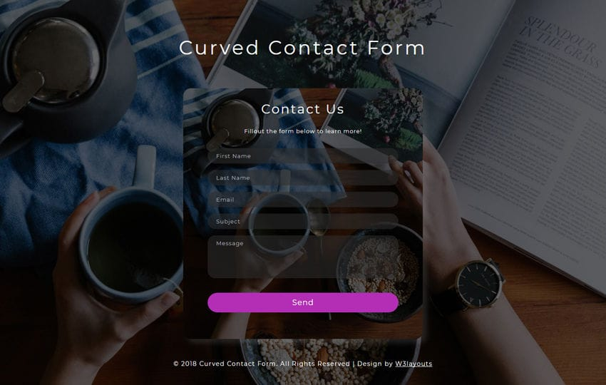 Curved Contact Form Flat Responsive Widget Template