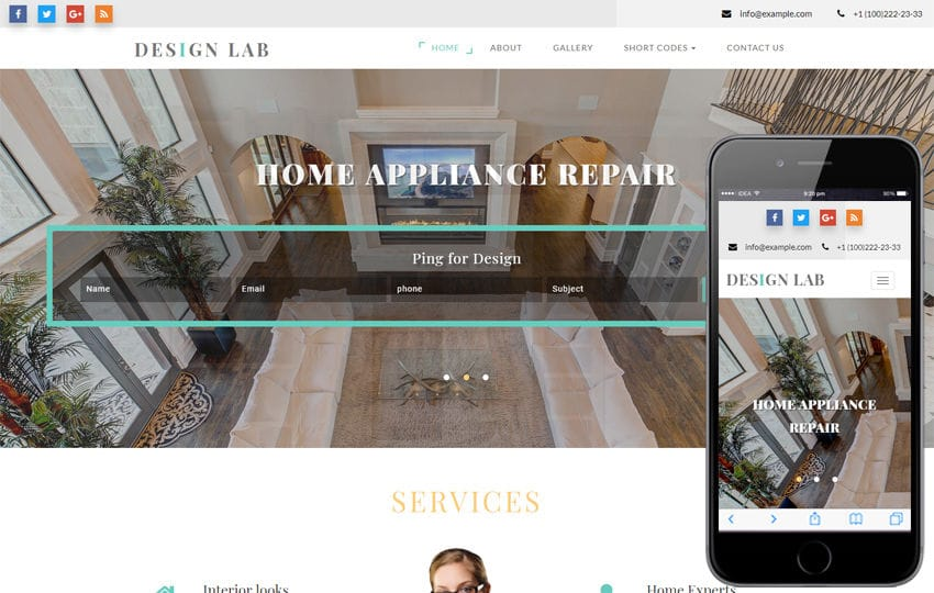 Design Lab Interior Category Bootstrap Responsive Web Template