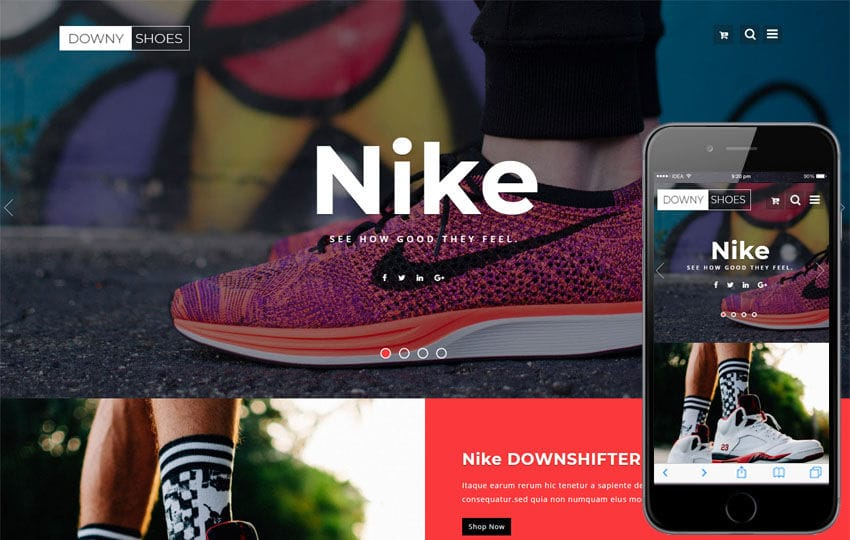 Downy Shoes Ecommerce Category Bootstrap Responsive Web Template Mobile website template Free