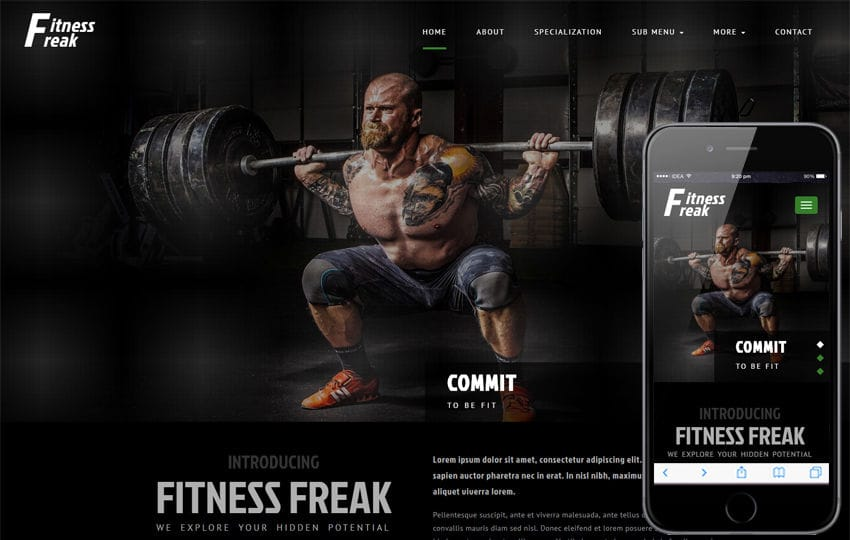 Fitness Freak Sports Category Bootstrap Responsive Web Template Mobile website template Free