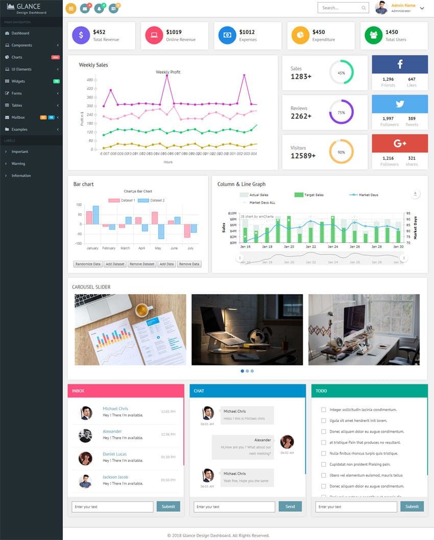 Glance Design Dashboard - A stunning design template for all your admin requirements