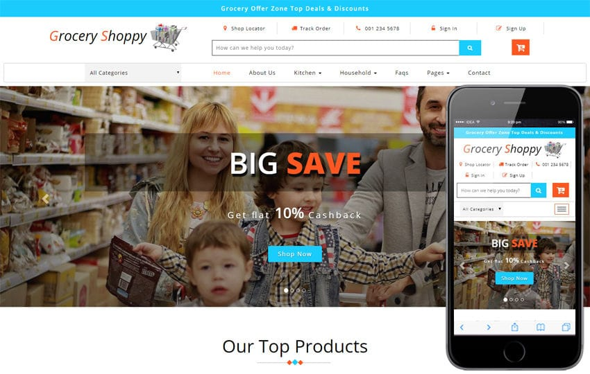 Grocery Shoppy Ecommerce Bootstrap Responsive Web Template Mobile website template Free