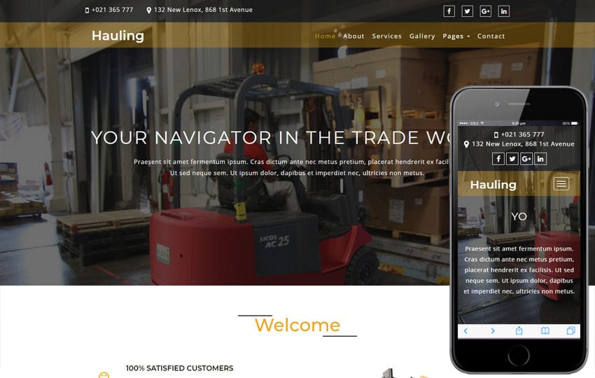 Hauling Transportation Category Bootstrap Responsive Web Template Mobile website template Free