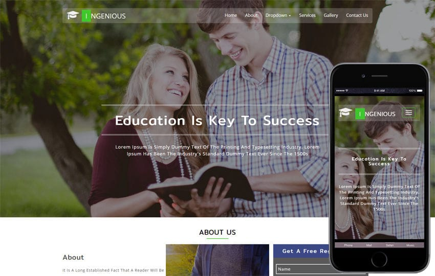 Ingenious Educational Category Bootstrap Responsive Web Template Mobile website template Free
