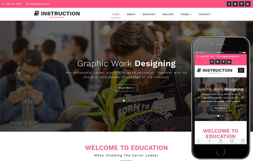 Instruction Education Category Bootstrap Responsive Web Template Mobile website template Free