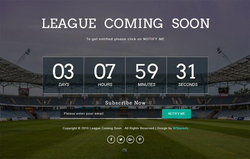 League Coming Soon Responsive Widget Template