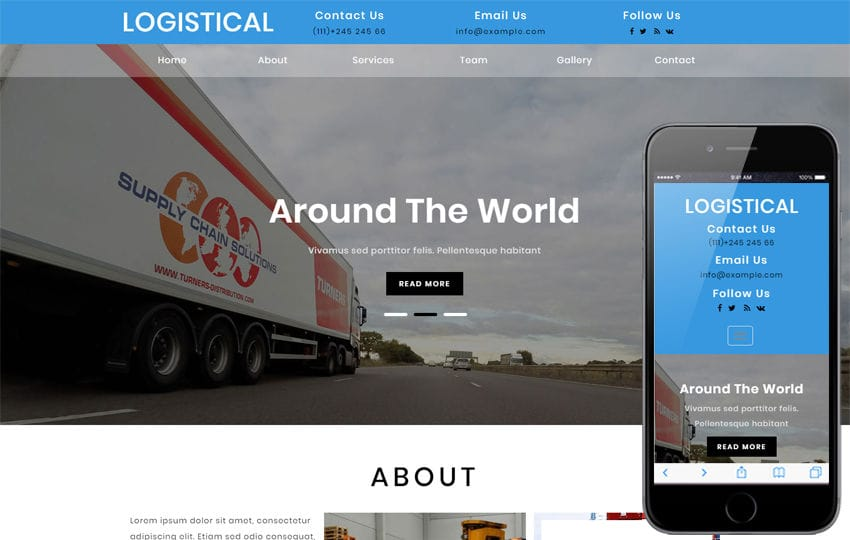 Logistical Transportation Category Bootstrap Responsive Web