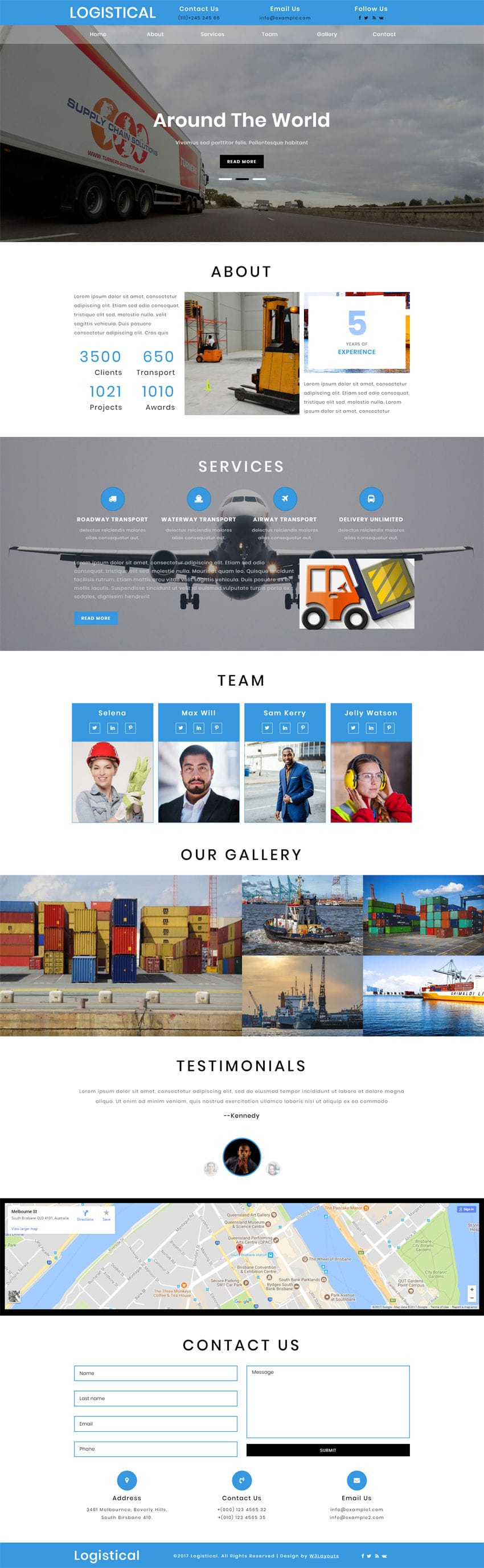 Download Logistical, a transportation & logistics website template. It is entirely built in Bootstrap framework, HTML5, CSS3 and Jquery and looks stunning.