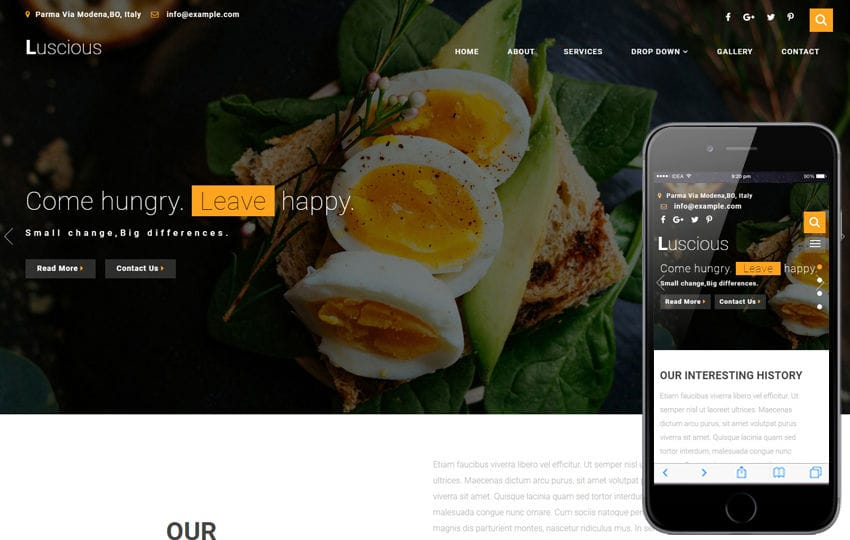 Luscious Restaurants Category Bootstrap Responsive Web Template Mobile website template Free