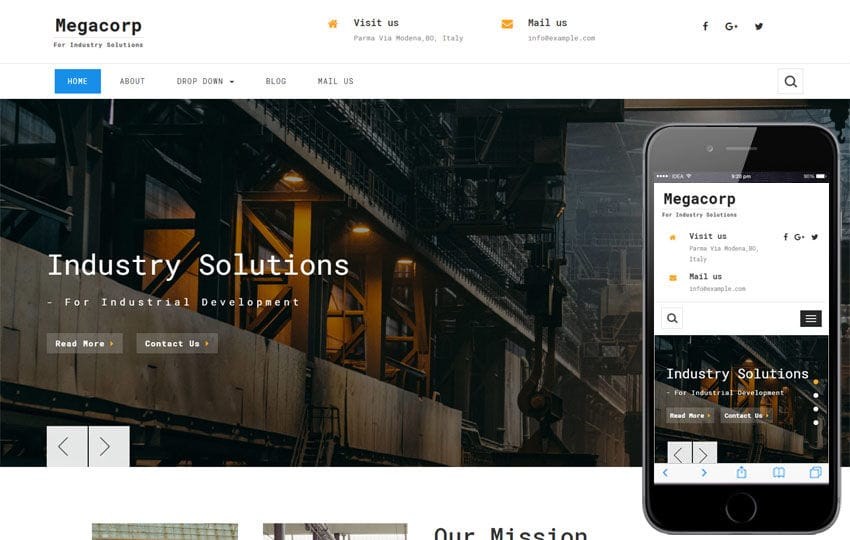 Megacorp Industrial Category Bootstrap Responsive Web Template Mobile website template Free