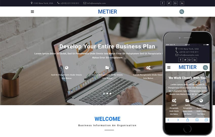 Metier Corporate Category Bootstrap Responsive Web Template