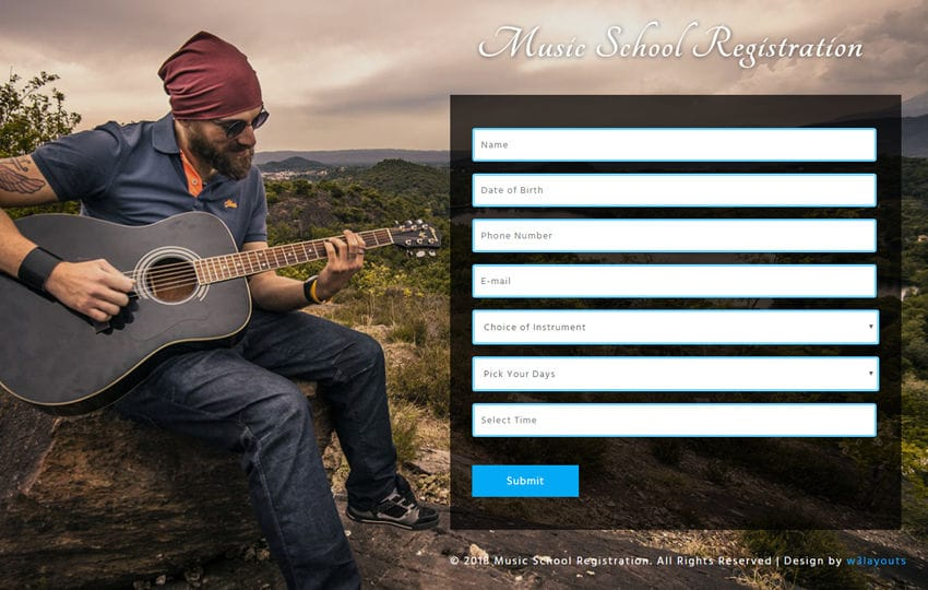 Music School Registration Responsive Widget Template Mobile website template Free