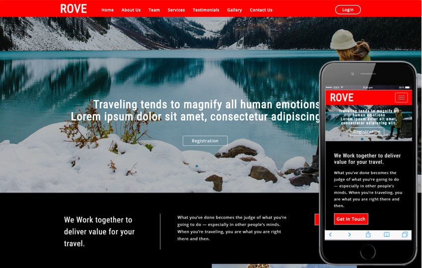 Rove Travel Category Bootstrap Responsive Web Template Mobile website template Free