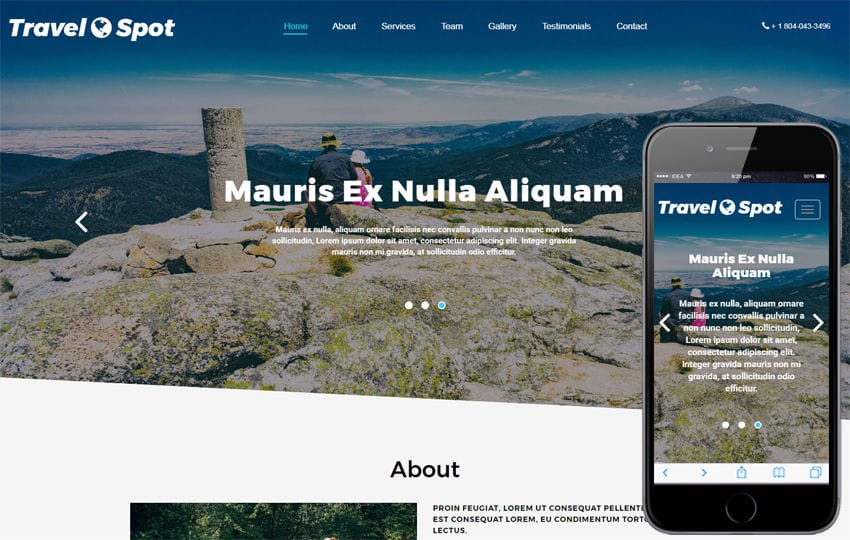 Travel Spot Travel Category Bootstrap Responsive Web Template Mobile website template Free