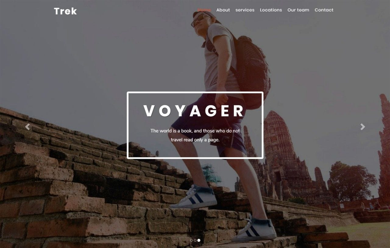 Trek Travel Category Bootstrap Responsive Web Template Mobile website template Free