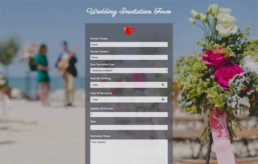 Wedding Invitation Form Flat Responsive Widget Template