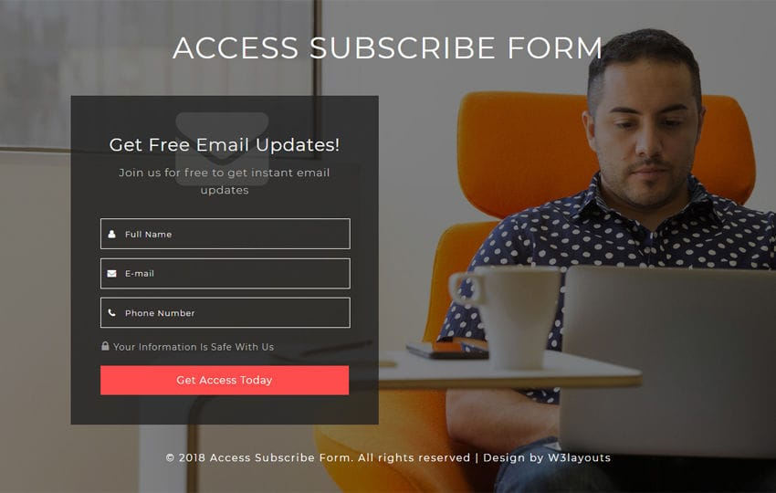 Access Subscribe Form Responsive Widget Template