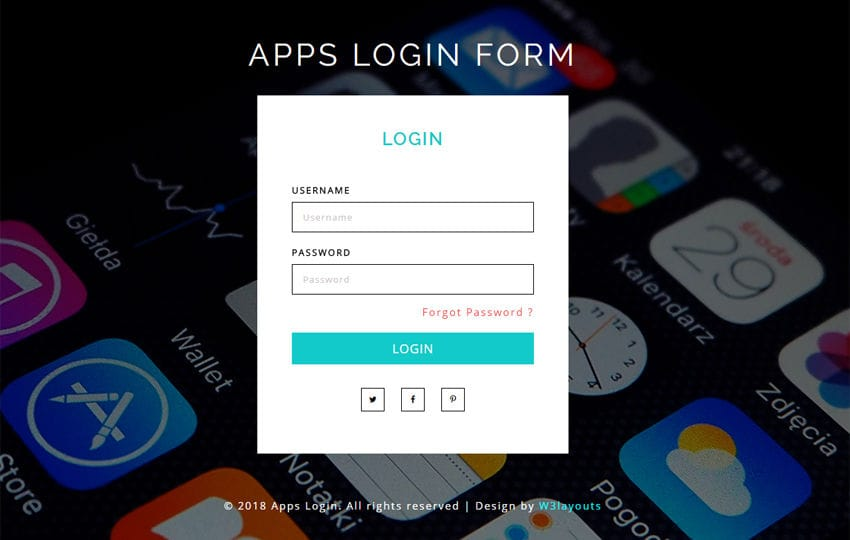 Apps Login Form Flat Responsive Widget Template