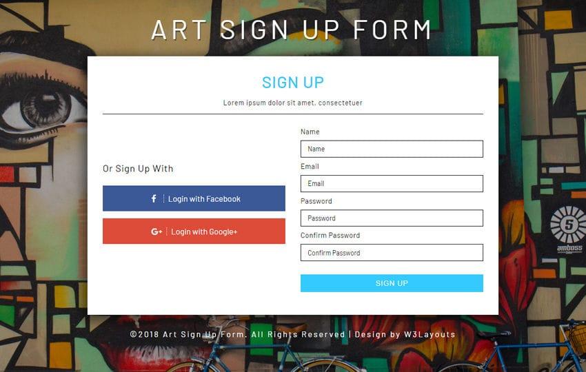 Art Signup Form Flat Responsive Widget Template