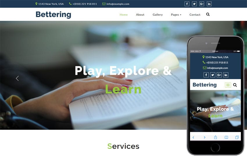 Bettering Education Category Bootstrap Responsive Web Template Mobile website template Free