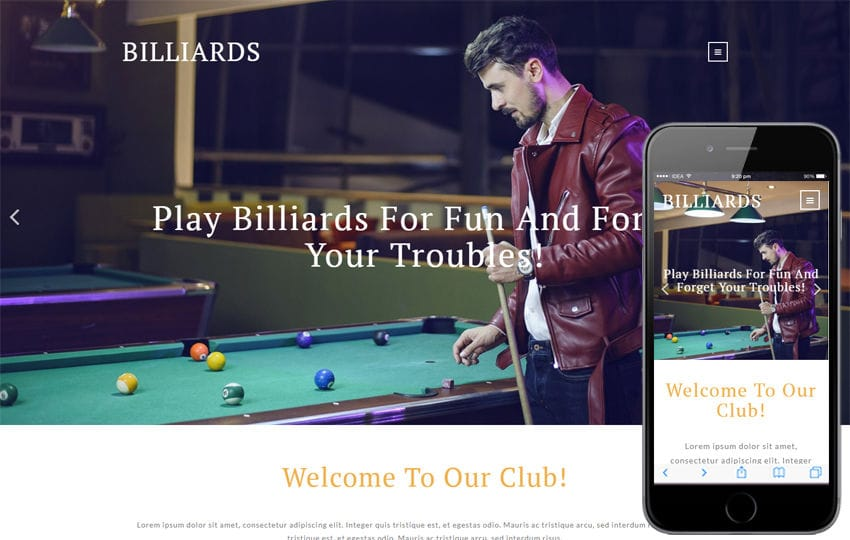 Billiards Sports Category Bootstrap Responsive Web Template Mobile website template Free