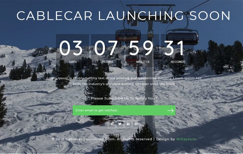 Cable Car Coming Soon Responsive Widget Template Mobile website template Free