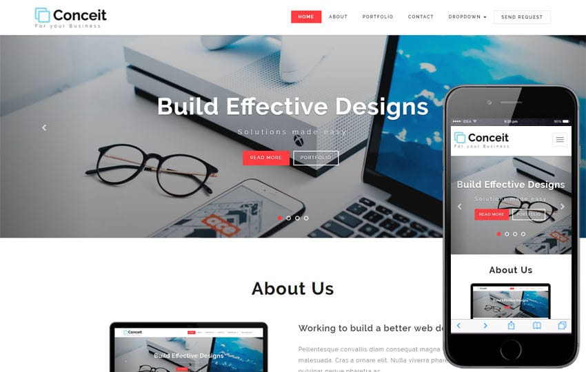 Conceit Corporate Category Bootstrap Responsive Web Template Mobile website template Free