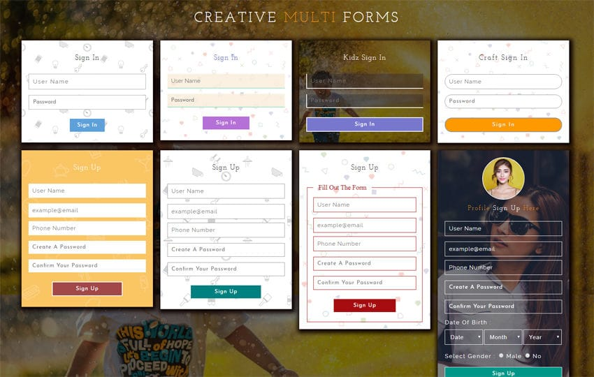 Creative Multi Forms Responsive Widget Template