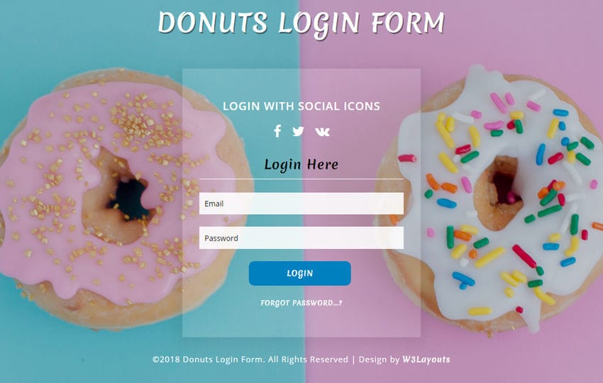Donuts Login Form Flat Responsive Widget Template Mobile website template Free