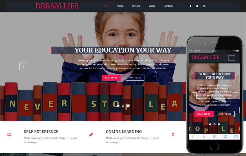 Dream Life Educational Category Bootstrap Responsive Web Template