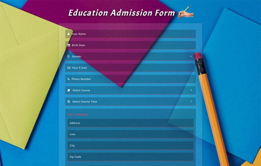 Education Admission Form Responsive Widget Template Mobile website template Free