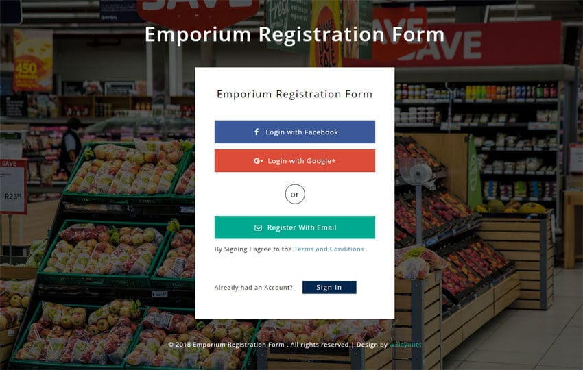 Emporium Registration Form Responsive Widget Template Mobile website template Free