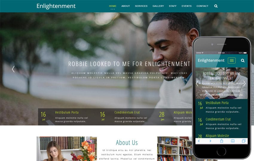 Enlightenment Educational Category Bootstrap Responsive Web Template Mobile website template Free