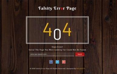 Falsity Error Page Flat Responsive Widget Template