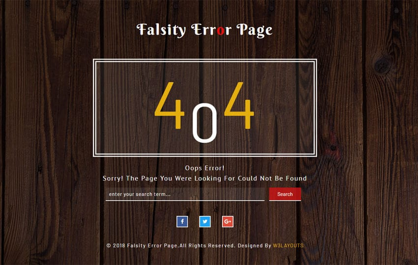 Falsity Error Page Flat Responsive Widget Template Mobile website template Free