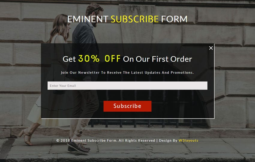 Eminent Subscribe Form Responsive Widget Template