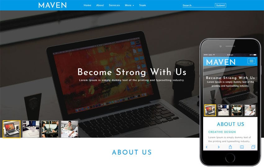 Maven Corporate Category Bootstrap Responsive Web Template Mobile website template Free