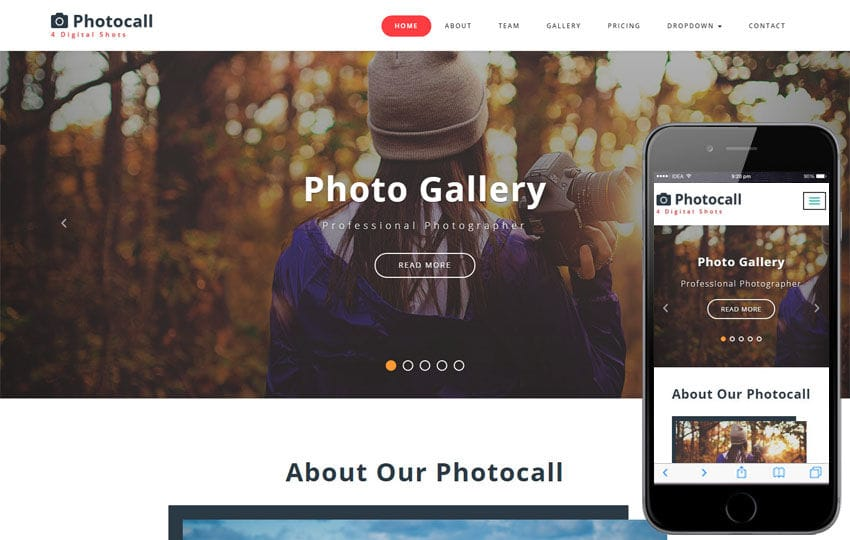 Photocall a Photo Gallery Category Bootstrap Responsive Web Template Mobile website template Free