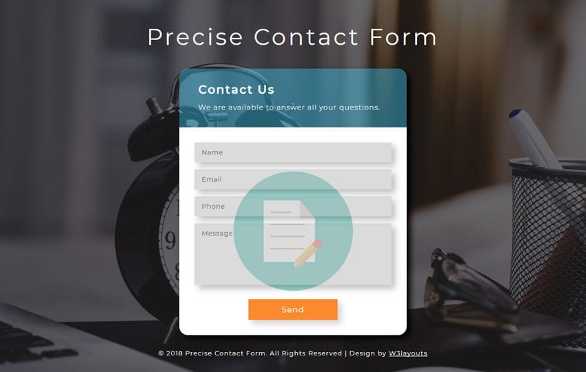 Precise Contact Form Responsive Widget Template
