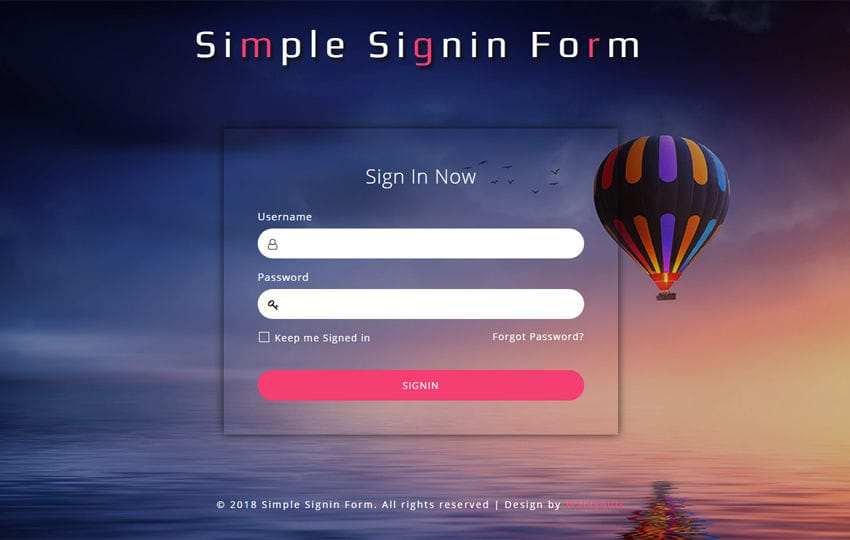Simple Sign in Form Responsive Widget Template