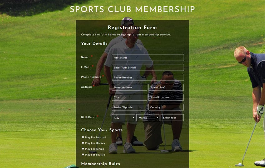 Sports Club Membership Responsive Widget Template Mobile website template Free