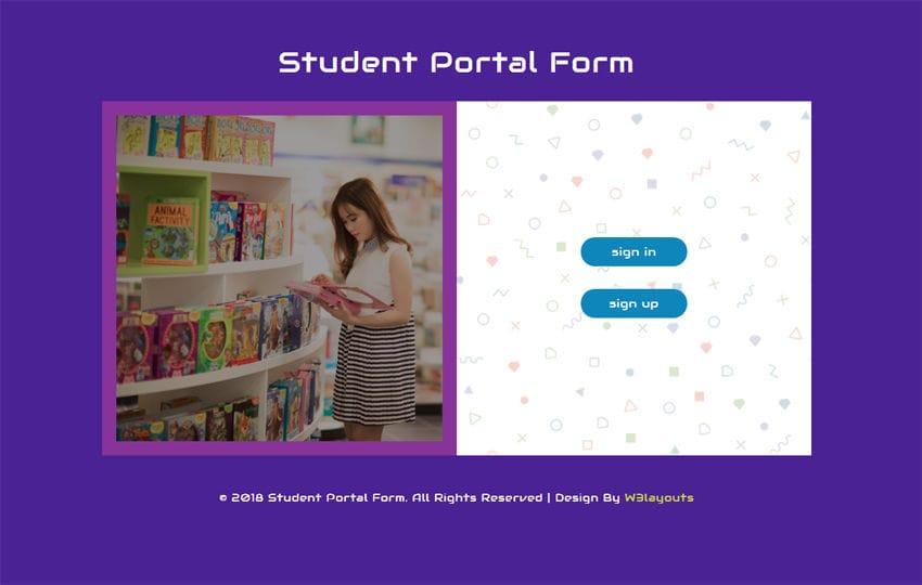 Student Portal Form Responsive Widget Template